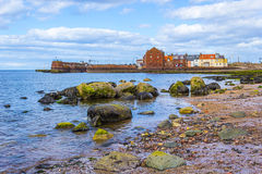 Пристаньте к берегу на северном Berwick с взглядом на гавани, Шотландии Стоковые Фотографии RF