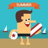 Пристаньте к берегу с кроватью пляжа, мальчиком и шлюпкой Стоковое Изображение RF