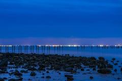 пристаньте ночу к берегу Стоковые Фото