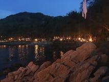 пристаньте ночу к берегу Стоковое фото RF