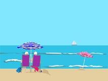 пристаньте парасоли к берегу бесплатная иллюстрация