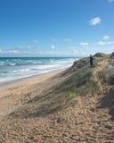 Пристаньте песчанную дюну к берегу на солнечный день в национальном парке Coorong, южном Aus Стоковое фото RF