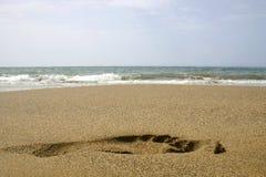 пристаньте след ноги к берегу Стоковая Фотография
