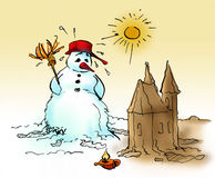 пристаньте снеговик к берегу Стоковое Изображение