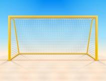 Пристаньте столб к берегу цели футбола с сетью, вид спереди Стоковое Изображение RF