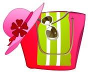 Пристаньте сумку, шляпу солнца, полотенце и солнечные очки к берегу на белой предпосылке бесплатная иллюстрация