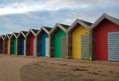 Пристаньте хаты к берегу на Blyth, Нортумберленде, Англии Стоковое фото RF