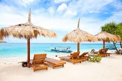Пристаньте pavillion к берегу в островах Gili, Meno остальных Стоковое фото RF