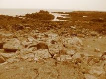 пристаньте sepia к берегу Стоковые Фото