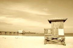 пристаньте sepia к берегу Стоковые Изображения
