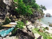 пристаньте tulum к берегу yucatan моря roo quintana Мексики шлюпки карибское Стоковые Изображения RF