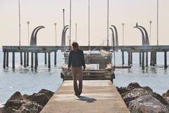Пристань в Lido di Venezia, Италии Стоковые Изображения