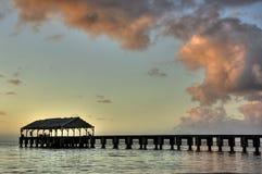 пристань Гавайских островов kauai hanalei сумрака стоковая фотография rf