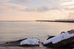 Пристань города в зиме Стоковая Фотография