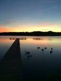 Пристань захода солнца Стоковое фото RF