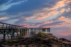 Пристань захода солнца Стоковая Фотография RF