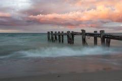 Пристань захода солнца Стоковые Изображения RF