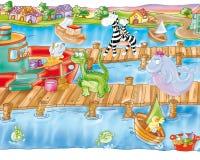 Пристань и гавань с рыбацкими лодками с китом и животными Стоковое Фото