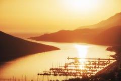 Пристань корабля на заходе солнца Турции Стоковое Изображение