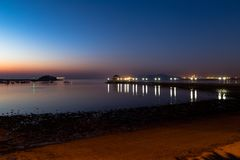 Пристань на восходе солнца, Qingdao Zhanqiao, Шаньдун, Китай стоковое изображение