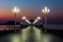 Пристань на восходе солнца, Qingdao Zhanqiao, Шаньдун, Китай стоковое фото rf
