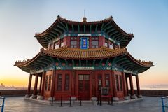 Пристань на восходе солнца, Qingdao Zhanqiao, Шаньдун, Китай Стоковая Фотография