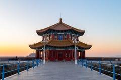 Пристань на восходе солнца, Qingdao Zhanqiao, Шаньдун, Китай Стоковые Изображения RF