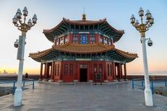 Пристань на восходе солнца, Qingdao Zhanqiao, Шаньдун, Китай Стоковые Изображения