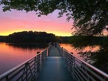 Пристань на восходе солнца Стоковые Изображения RF