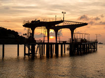 Пристань на заходе солнца, Острова Рождества, Австралия Стоковые Изображения