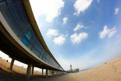 Пристань на пляже в scheveningen Гааге Голландии Стоковое Изображение RF