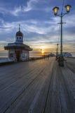 Пристань на сумраке - Англия Блэкпула северная Стоковые Изображения