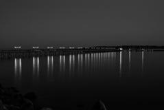 Пристань ночи светлая стоковое изображение
