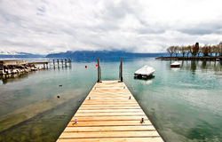 пристань озера 3 geneva деревянная Стоковые Изображения