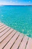 Пристань пляжа Platja de Alcudia в Мальорке Майорке Стоковые Изображения RF