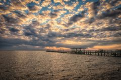 Пристань рыбной ловли озера Стоковые Изображения RF