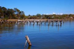 Пристань рыбной ловли, пункт орла, маленький город в Виктории, Австралии Стоковое Фото