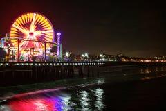 Пристань Санта-Моника на ноче Стоковое фото RF