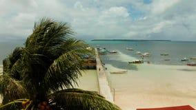 Пристань со шлюпками в море, виде с воздуха Генерал луна, остров Siargao сток-видео