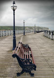пристань стула пустая сиротливая ненастная Стоковое Фото