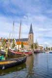 Пристань с старыми шлюпками в Harlingen Стоковая Фотография RF