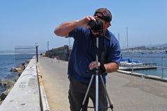 пристань фотографа океана человека Стоковая Фотография RF