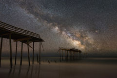 Пристань Frisco под галактикой млечного пути Стоковое Изображение RF