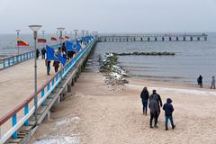 Пристань Palanga, берег моря Литвы Стоковое Фото