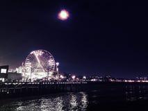 пристань santa ночи monica Стоковые Фото