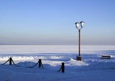 Пристань Snowy озера Onego в России Стоковое фото RF