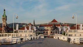 Пристань Sopot и красивые cityview/городской пейзаж Sopot, Польши стоковые фотографии rf