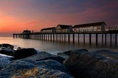 Пристань Southwold на зоре Стоковые Фото