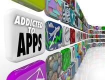 Пристрастившийся к Apps формулирует передвижной дисплей плитки программного обеспечения Стоковые Изображения