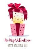 Присутствующее яркое красочное, с смычком и геометрическими сердцами картины Поздравление к дню ` s валентинки вектор Стоковая Фотография RF